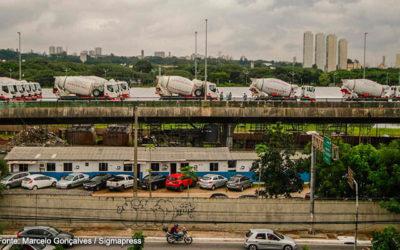 Obras de reconstrução do viaduto na Marginal Pinheiros